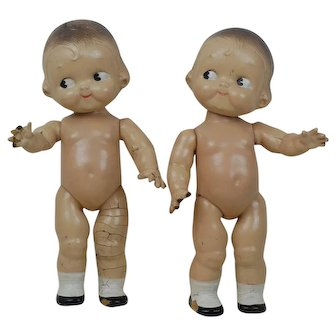 Pr of 1930s Composition Campbell Kid Dolls
