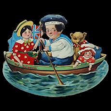 "1890s-1910s Raphael Tuck Die-cut Rocker ""The Bonnie Boatload"""