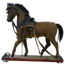 1890s Paper Mache Horse Pull Toy