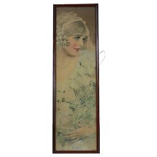 """1920's Yard Long Print """"The Bride"""" by Rolf Armstrong"""