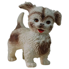 1950's Rubber Vinyl Toy Squeak Dog by Edward Mobley Co.