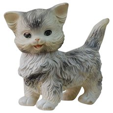 1950's Rubber Vinyl Toy Squeak Cat by Edward Mobley Co.