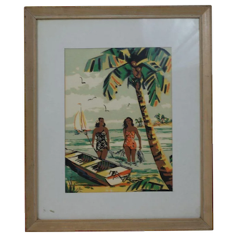 1950's Hawaiian Watercolor Print