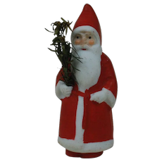 1910's-20's German Snow Baby Santa Claus Cake Topper W/ Feather tree