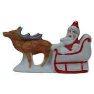 "1910's-20's German Snow Baby 3"" length Santa in Sleigh"