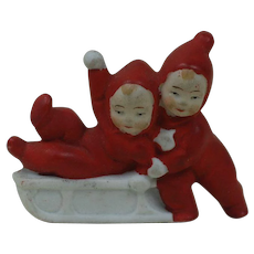 1910's-20's German Snow Baby Children Playing on Sled