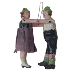 1910's-20's German Paper Mache Hanging Man and Woman Christmas Ornament
