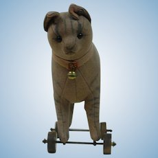 1910's-1920's Early Steiff Wheeled Cat Toy