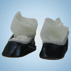 1920's/30's Leatherette Black Shoes With Socks
