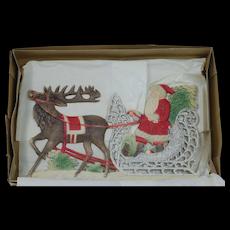 1910's German Die-Cut Santa Claus in Sleigh