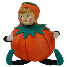 1940's-50's Halloween Pumpkin People with Blond Hair