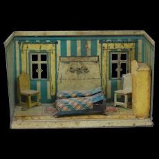 1920's German Metal Doll House Room Bed Room