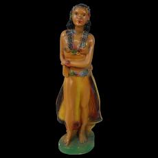 1940's Rare Form Carnival Hula Girl Chalk Statue