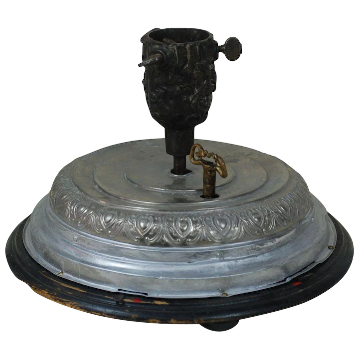 1900's Mechanical Music Tree Stand with Original Feather Tree Holder