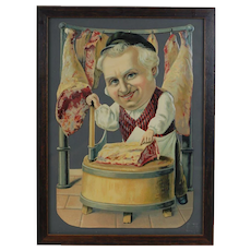 1890's-1900's German Die Cut Butcher at Cutting Table