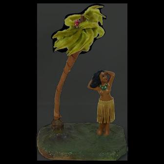 1940's Chalk Statue Hula Girl w/ Palmtree