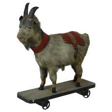 1890's Paper Mach'e Goat Pull Toy w/ Squeaker