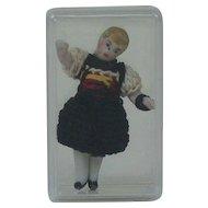 Carl Horn German Bisque Miniature Doll in Black Crotchet Dress