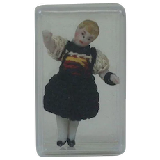 Carl Horn German Bisque Miniature Doll in Black Crotchet Dress