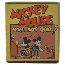 1934 Walt Disney Micky Mouse Will Not Quit Mini Book