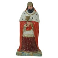 """1880's - 1890's 11"""" Paper Mache Wiseman from Nativity Collection"""