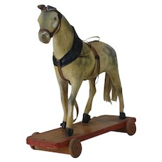 1900's Wooden Composition Horse on Wheels