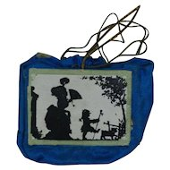 1900's Dresden Silk Dark Blue Purse Ornament