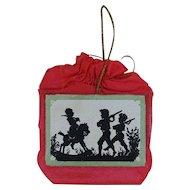 1900's Dresden Silk Red Purse Ornament