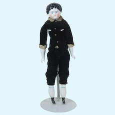 1840's-1850's Early Kestner China Doll in Velvet Outfit