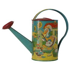 1920's-1940's J. Chein & Co. Tin Watering Can with Mother Goose