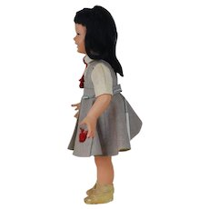 1940's Italian Bonomi Hard Plastic Doll with Black Hair