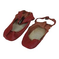Early 1940's Red Leather Doll Shoes
