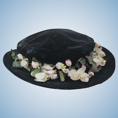 1890's Black Velvet Victorian Doll Hat