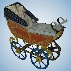 Alert Vintage Doll Stroller Wicker Wood Metal Carriage Buggy Pram Flawless Antique Toy Home & Hearth