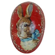 Early 1900's Dresden Trimmed Easter Egg with Rabbit Lithograph