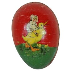 1900's-1920's Red Dresden Lined Easter Egg with Lithograph