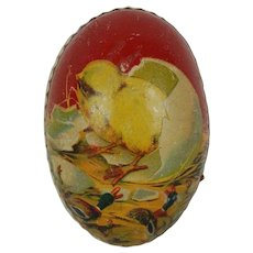 1900's White Dresden Lined Easter Egg with Lithograph