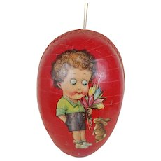 1920's Large Red Lithographed Easter Egg with Dresden Lining