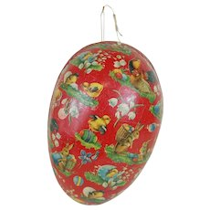 1900's Very Large Red Dresden Trimmed Easter Egg
