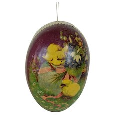 1900's Large White Dresden Trimmed Easter Egg with Lithograph