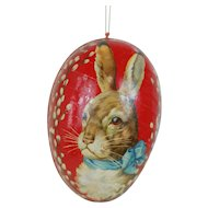1900's Large Red Dresden Trimmed Easter Egg with Rabbit Lithograph