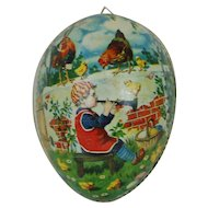 1900's Large Lithographed and Dresden Trimmed Easter Egg