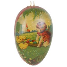 1900's Large Hanging Lithographed Easter Egg
