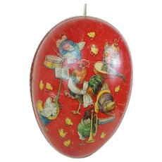 1900's Dresden Trimmed Easter Egg with Rabbit and Chicken Lithograph