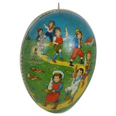 Early 1900's Lithographed Easter Egg with Dresden Trimming