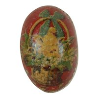 A Small 1900's White Dresden Trimmed Easter Egg