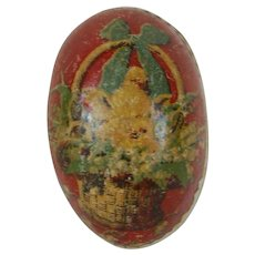 A Small 1900's White Dresden Trimmed Easter Egg