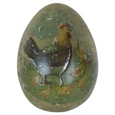 1890's-1900's German Tin Easter Egg with Embossed Rooster
