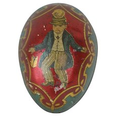 1890's-1900's German Tin Easter Egg with Crimson Backing