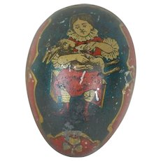 1890's-1900's German Tin Easter Egg with Lithograph and Gold Backing